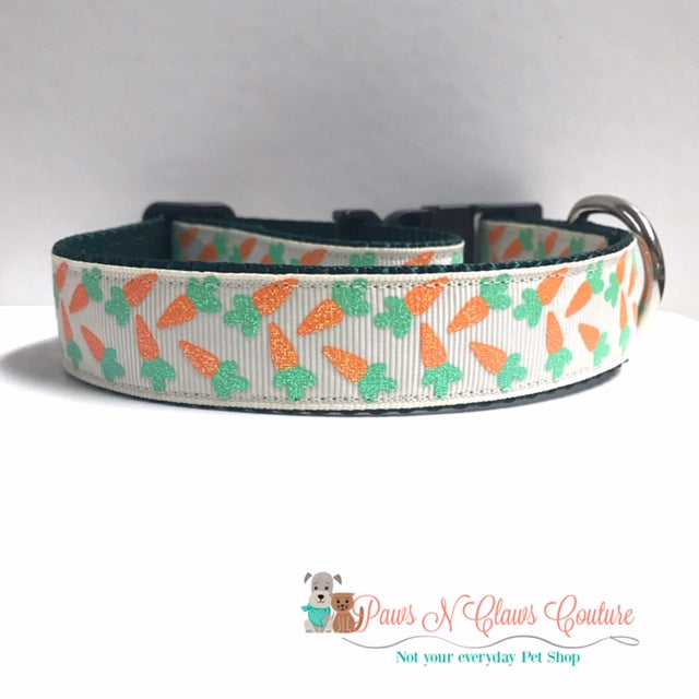 "1"" Glitter Carrots on Cream Dog Collar - Paws N Claws Couture"
