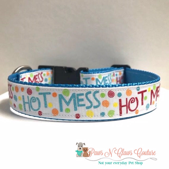 "1"" Hot Mess Dog Collar - Paws N Claws Couture"