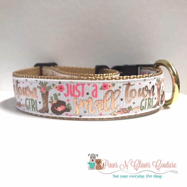 "1"" Just a Small Town Girl Dog Collar - Paws N Claws Couture"