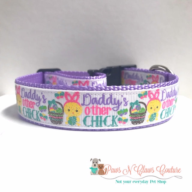 "1"" Daddy's other Chick Dog Collar - Paws N Claws Couture"