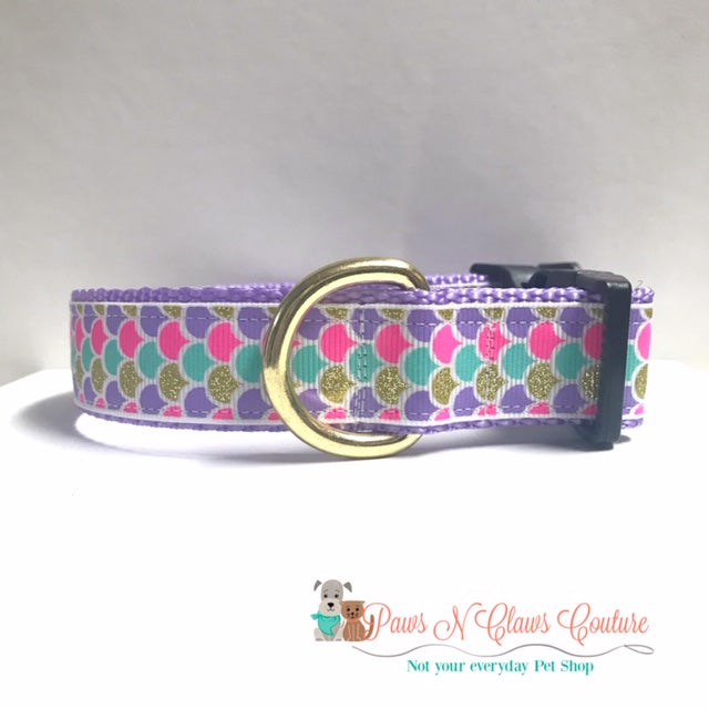 "1"" Scales on White Dog Collar - Paws N Claws Couture"