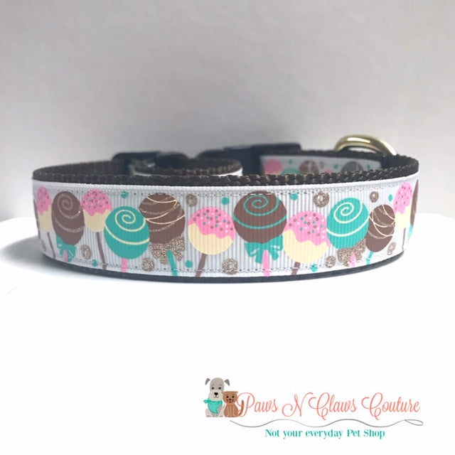 "1"" Cake Pops Dog Collar - Paws N Claws Couture"