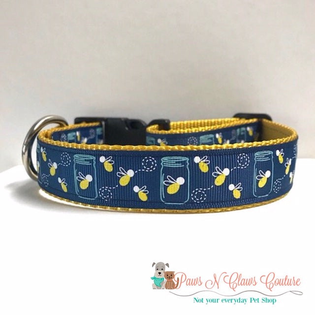 "1"" Mason Jars & Lightning Bugs Dog Collar"