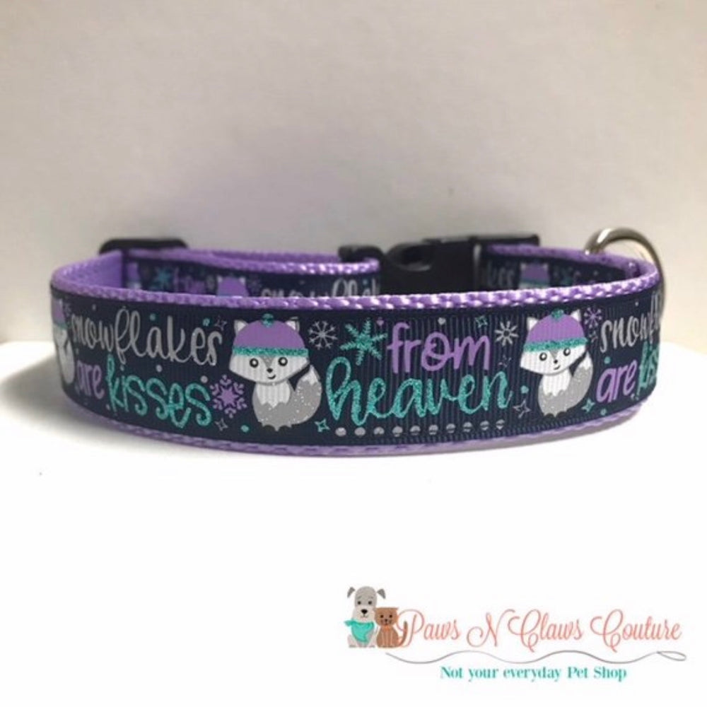 "1"" Snowflakes are Kisses from Heaven Dog Collar"