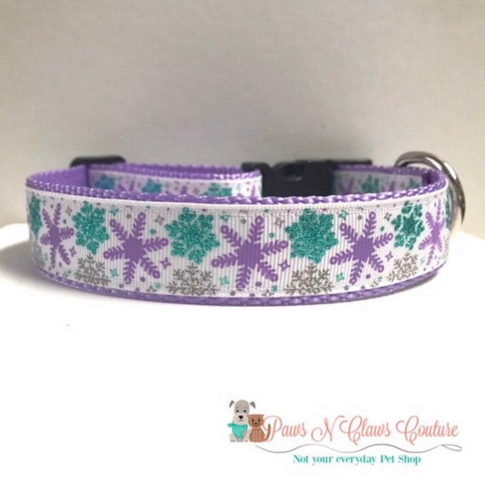 "1"" Teal & Purple Snowflakes Dog Collar - Paws N Claws Couture"