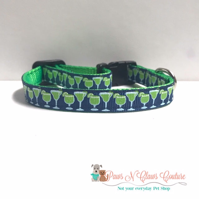 "3/8"" Extra Salty Margaritas Cat or Small Dog Collar"