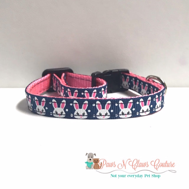 "3/8"" Bunny on Navy Cat or Small Dog Collar - Paws N Claws Couture"