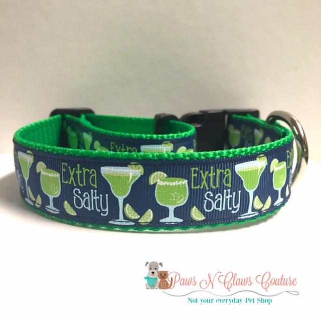 "1"" Extra Salty Margaritas Dog Collar"