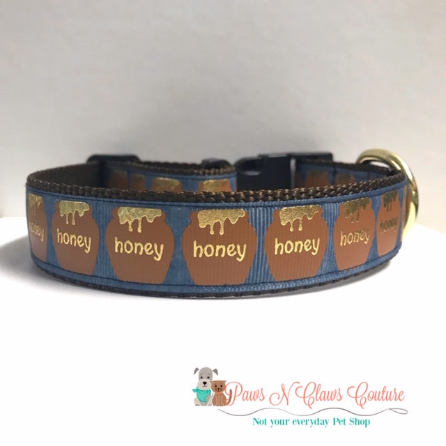 "1"" Honey Dog Collar - Paws N Claws Couture"