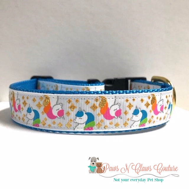 "1"" Blue & Pink Unicorns Dog Collar - Paws N Claws Couture"