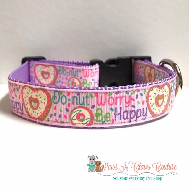 "1"" Do-nut worry be happy Dog Collar"