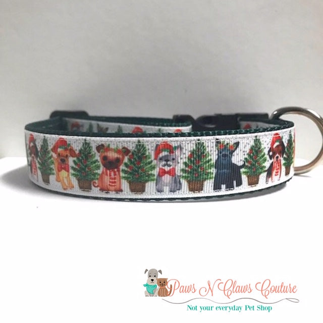 "1"" Christmas Pups Dog Collar"