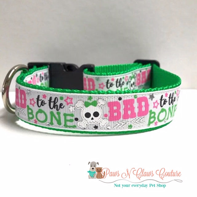 "1"" Bad to the Bone Dog Collar - Paws N Claws Couture"