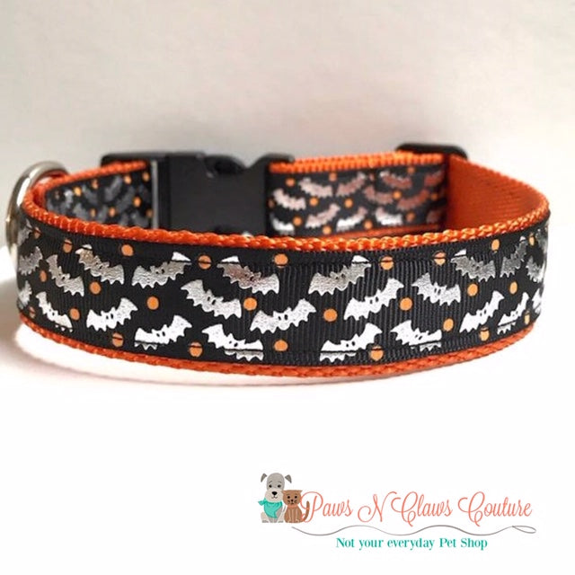 "1"" Foil Bats with Orange Dots Dog Collar - Paws N Claws Couture"