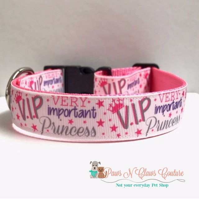 "1"" VIP (Very Important Princess) Dog Collar - Paws N Claws Couture"