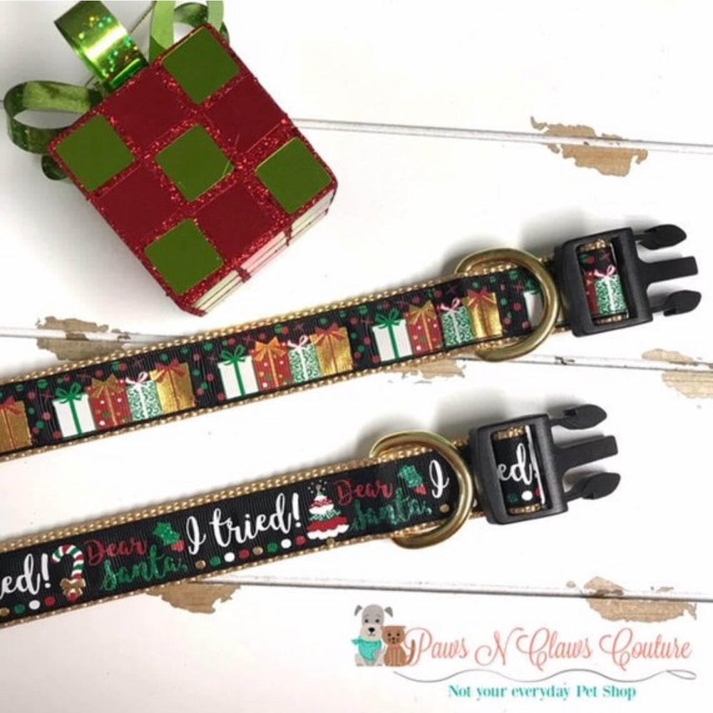 "1"" Dear Santa I tried or Presents Dog Collar - Paws N Claws Couture"