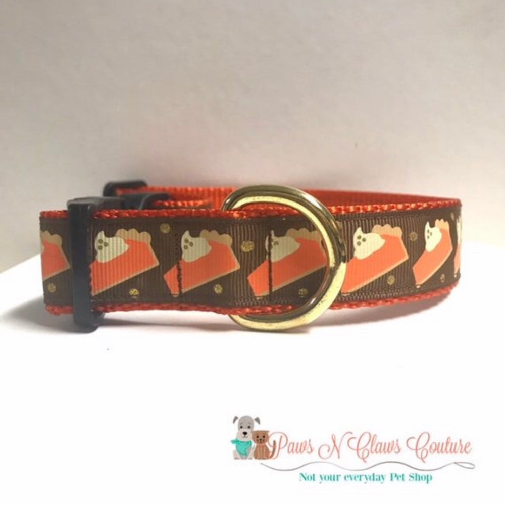 "1"" Pumpkin Pie Slices Dog Collar"
