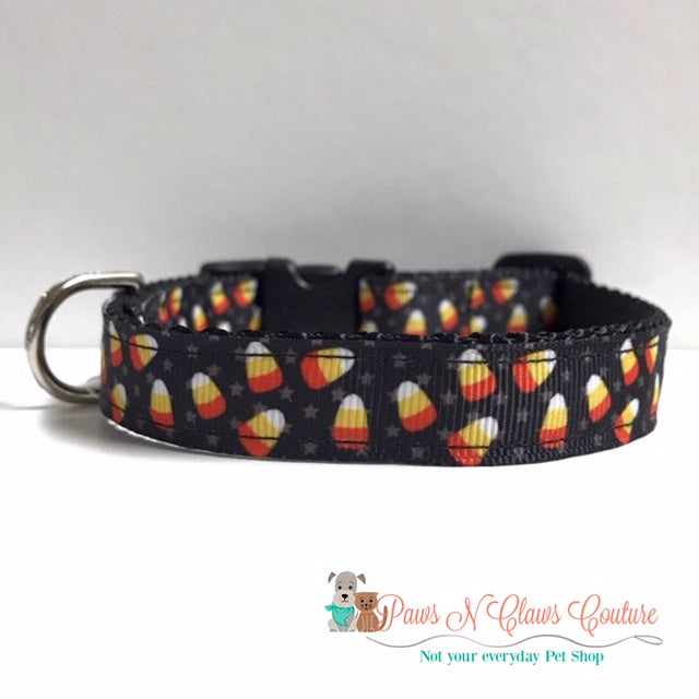 "5/8"" Candy Corn & Stars Dog Collar"