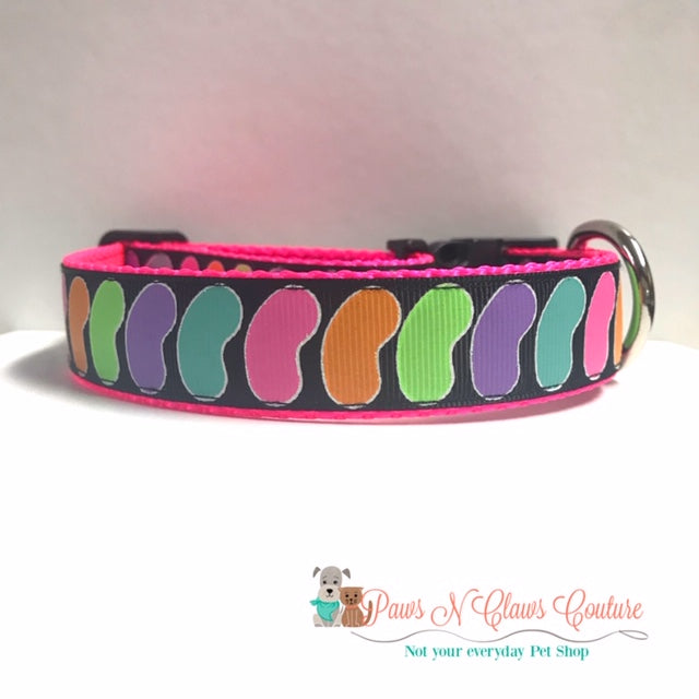 "1"" Neon Jelly Beans Dog Collar - Paws N Claws Couture"