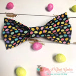 Glitter Mini Eggs on Black Bow Tie