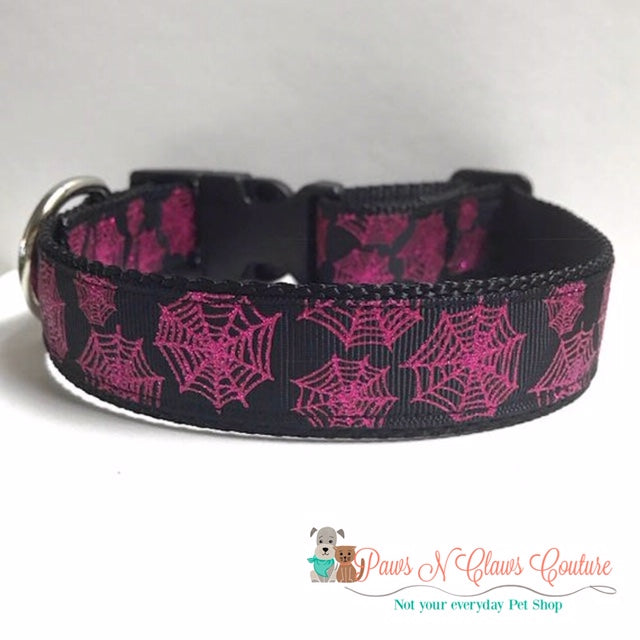 "1"" Glitter Spider Webs Dog Collar - Paws N Claws Couture"