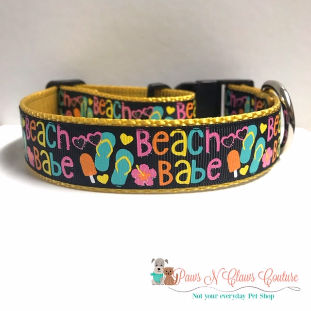 "1"" Beach Babe Dog Collar"