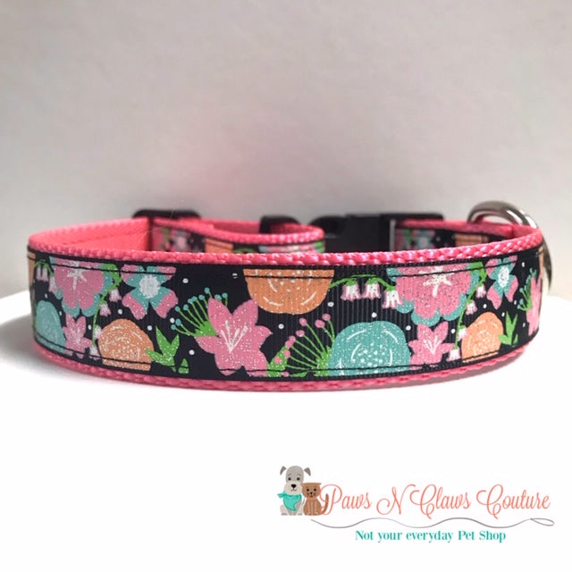 "1"" Glitter Floral Dog Collar - Paws N Claws Couture"