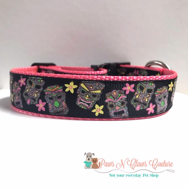 "1"" Tiki Heads Dog Collar - Paws N Claws Couture"