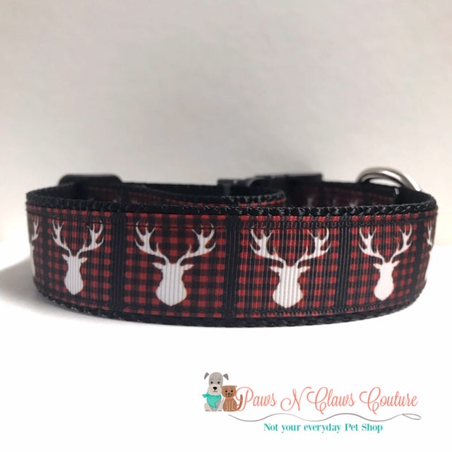 "1"" Buffalo Plaid & Trophy Deer Dog Collar - Paws N Claws Couture"