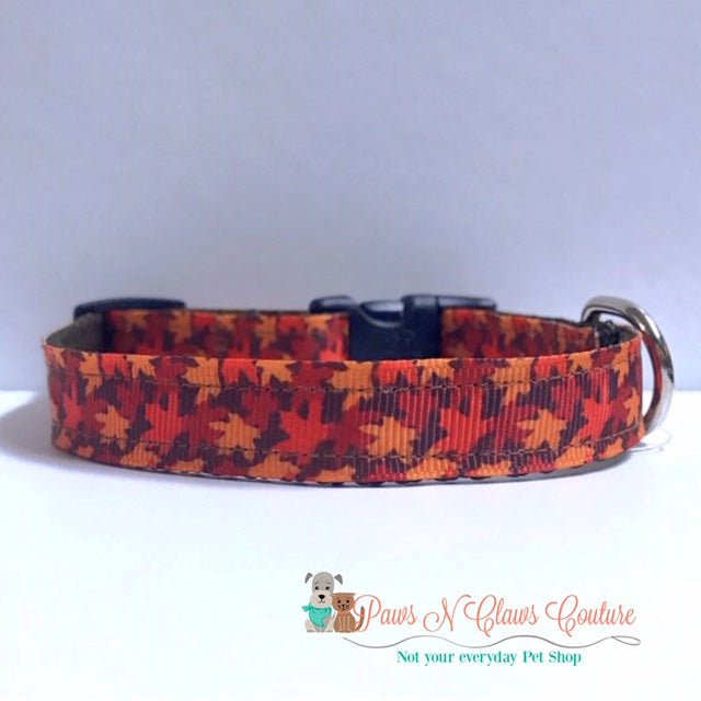"5/8"" Fall Leaves Dog Collar"