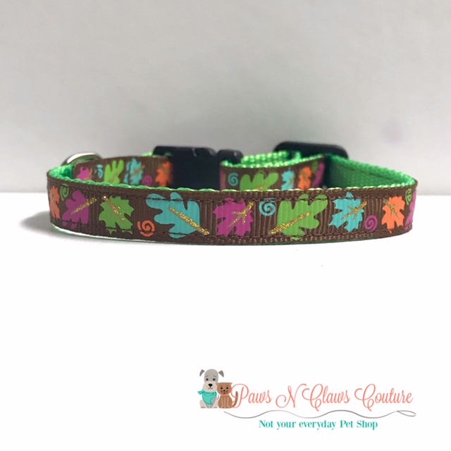 "3/8"" Mini Fall Leaves on Brown Cat or Small Dog Collar - Paws N Claws Couture"