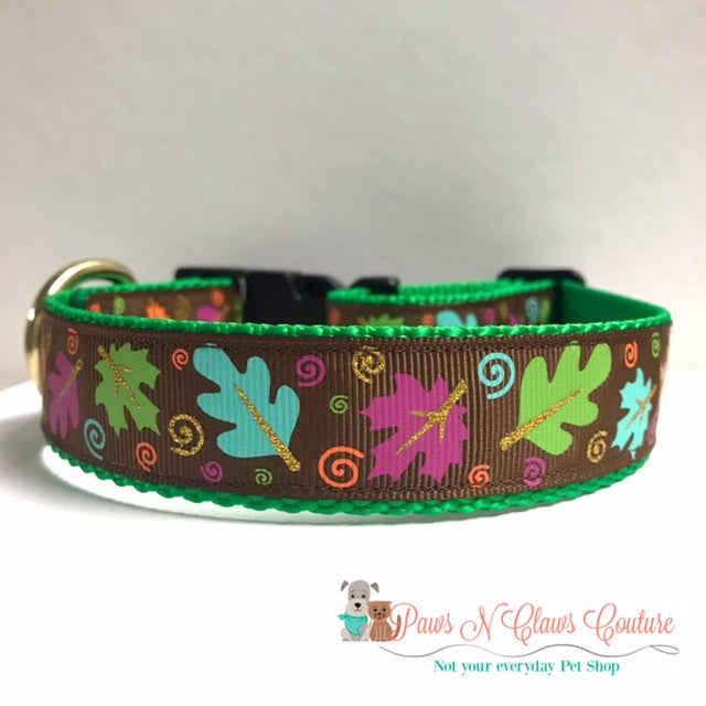 "1"" Fall Leaves on Brown Dog Collar"