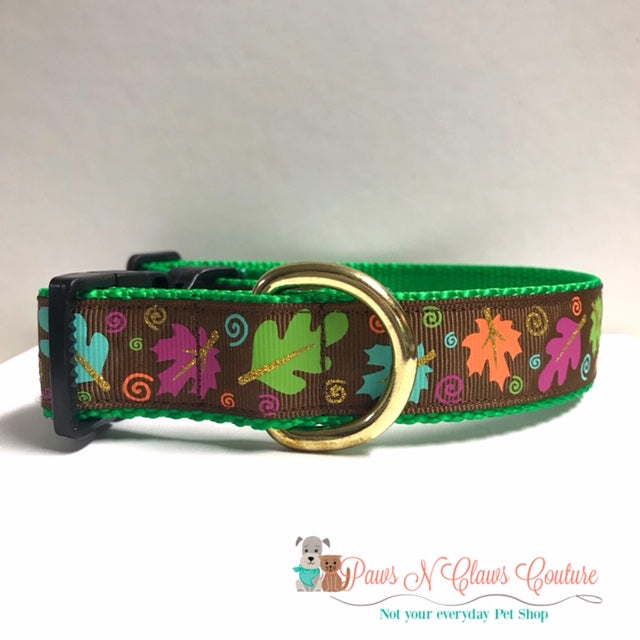 "1"" Fall Leaves on Brown Dog Collar - Paws N Claws Couture"