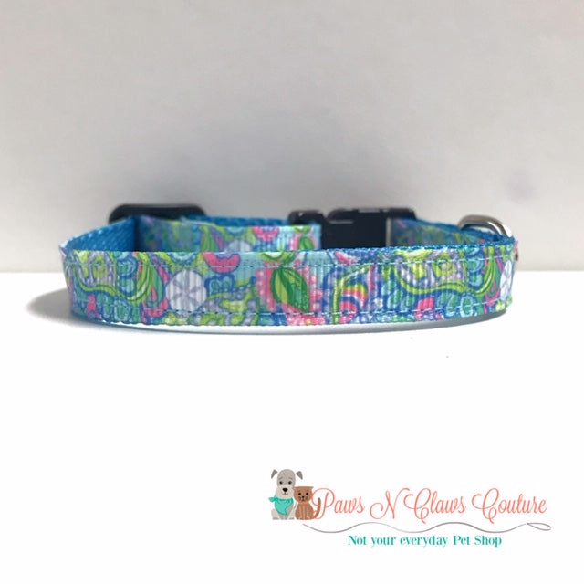 "3/8"" Conch republic fish sand dollars Lilly inspired Cat or Small Dog Collar"