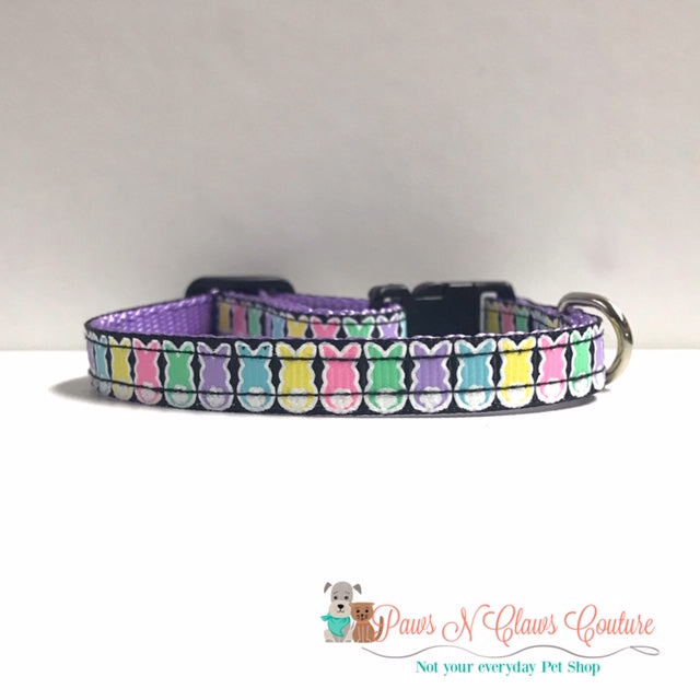 "3/8"" Mini Bunnies on Black Cat or Small Dog Collar - Paws N Claws Couture"