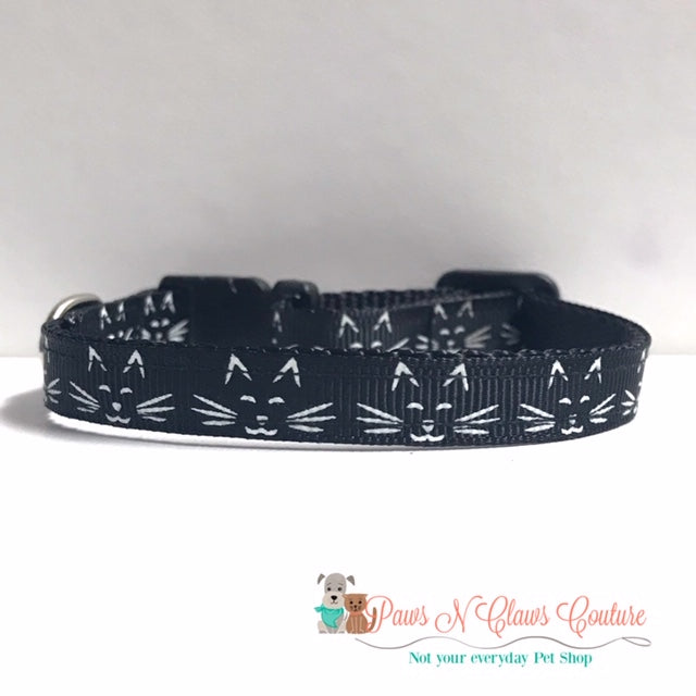 "3/8"" Mini cat face on Black Cat or Small Dog Collar - Paws N Claws Couture"