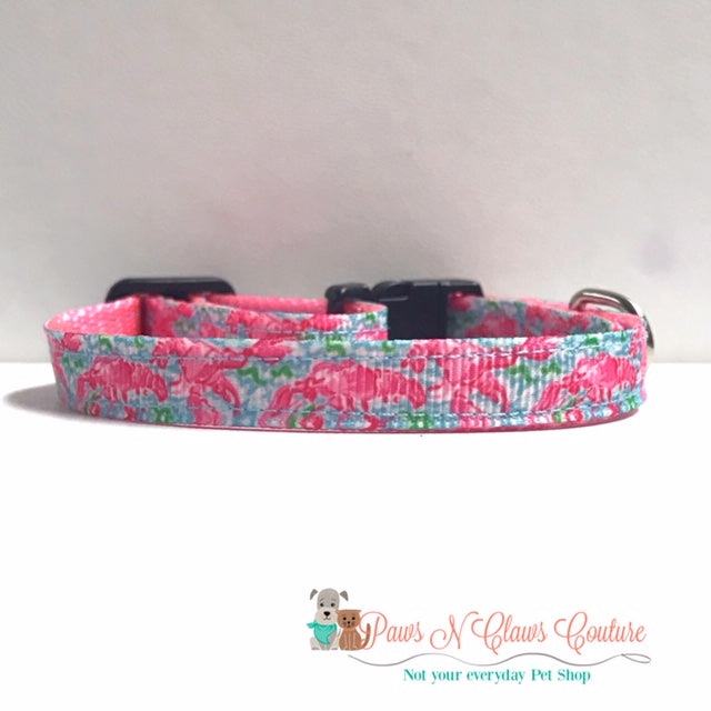 "3/8"" Lobsters Lilly inspired Cat or Small Dog Collar - Paws N Claws Couture"