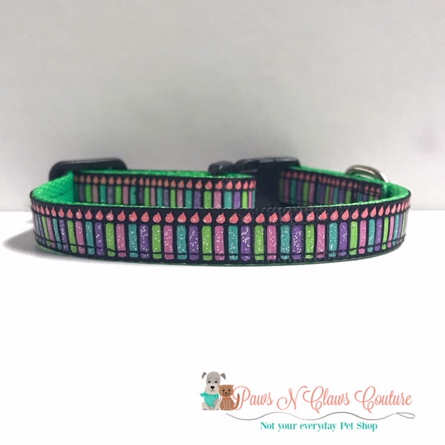 "3/8"" Glitter Candles Cat or Small Dog Collar"