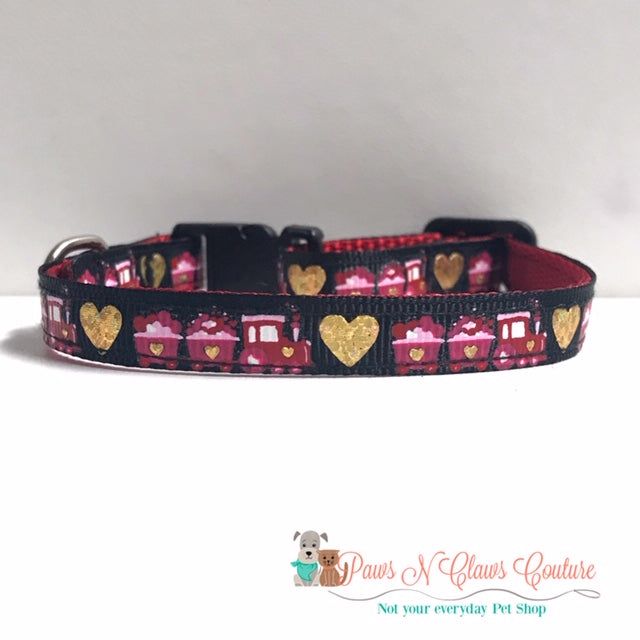 "3/8"" Mini Love Train Cat or Small Dog Collar"