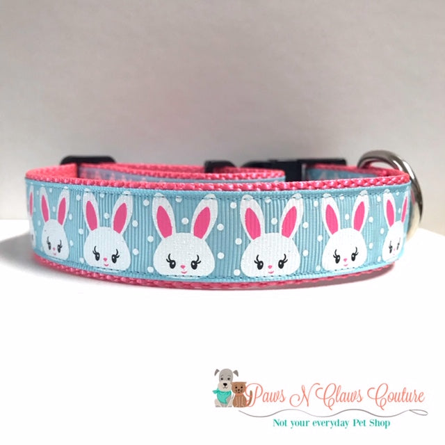 "1"" Bunny Head on Blue Dog Collar"