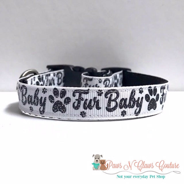 "5/8"" Furbaby on White Dog Collar - Paws N Claws Couture"