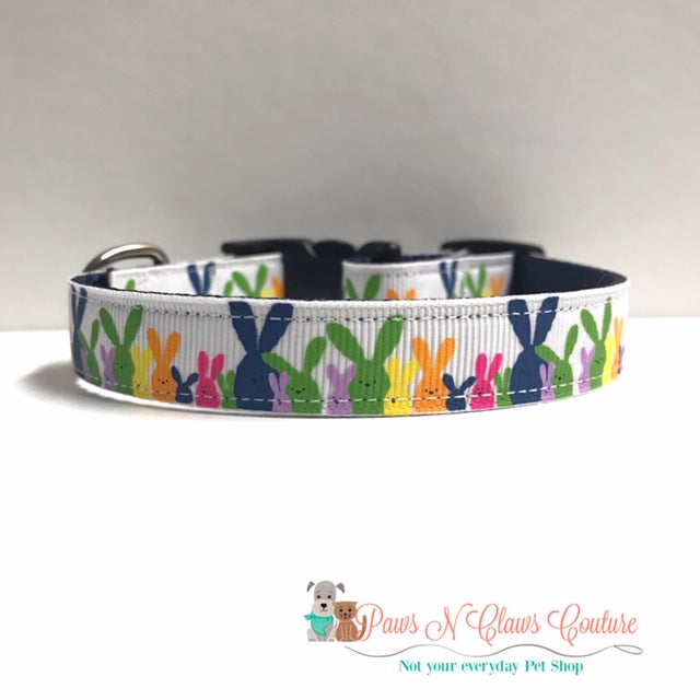 "5/8"" Colorful Bunnies Dog Collar - Paws N Claws Couture"