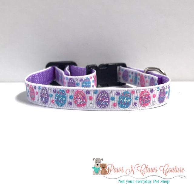 "3/8"" Glitter eggs Cat or Small Dog Collar - Paws N Claws Couture"