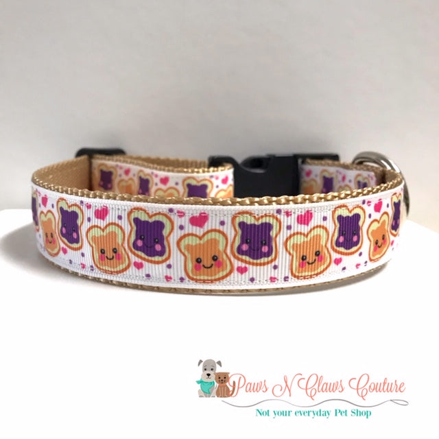 "1"" Best Friends like Peanut Butter and Jelly Dog Collar"
