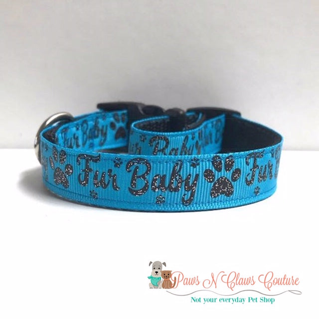 "5/8"" Furbaby on Blue Dog Collar - Paws N Claws Couture"