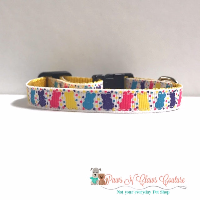 "3/8"" Mini Bunnies and Dots Cat or Small Dog Collar - Paws N Claws Couture"