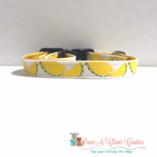 "3/8"" Mini Tacos Cat or Small Dog Collar - Paws N Claws Couture"