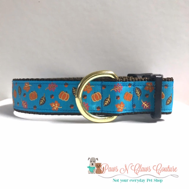 "1"" Mini Foil Pumpkins and Leaves on Blue Dog Collar - Paws N Claws Couture"