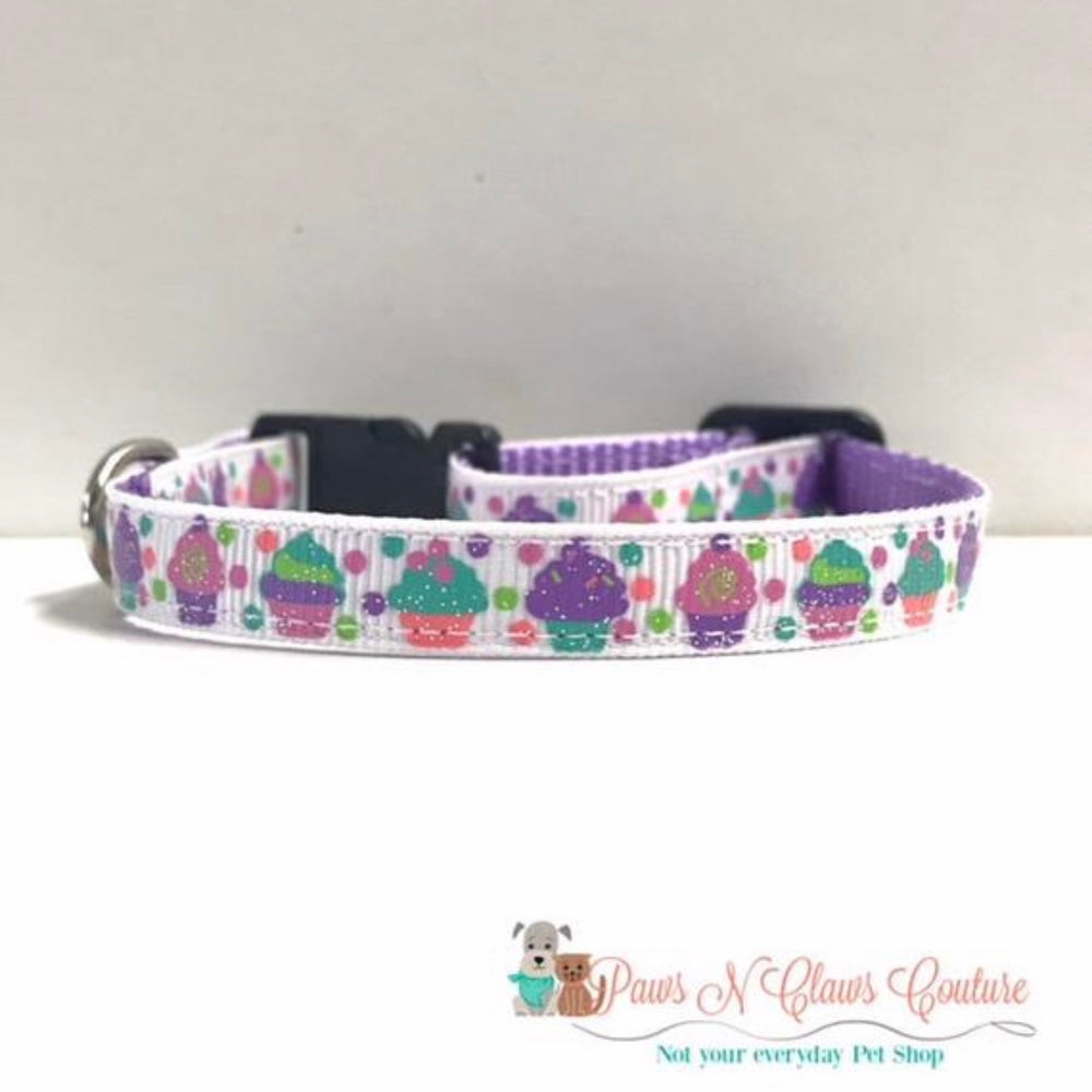"3/8"" Glitter Cupcakes Cat or Small Dog Collar"