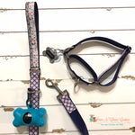 "1"" Nautical Plaid Martingale Dog Collar, Leash Available - Paws N Claws Couture"